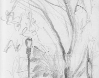 Riverside Park - NYC - at 103rd St - print of original pencil drawing - 8x10 inches