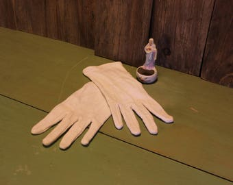 White Cotton Gloves Casual Wear Womens Accessories Vintage 1980s 80s (P)