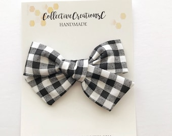 Plaid School Girl Bow - Black and White Gingham Bow - Oversized School Girl Bow -Black and White Buffalo Check Bow - Check Bow -Big Bow Clip