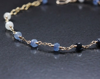 Sapphire Bracelet 14k Gold Filled - September Birthstone, Shaded Ombre, Blue Navy White, Wire Wrapped, Delicate Chain, Adjustable
