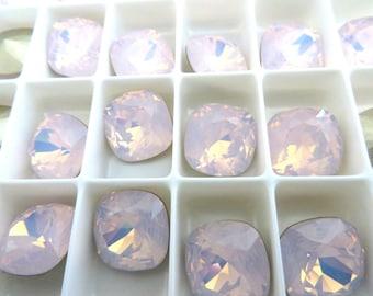 4 Rose Water Opal Foiled Swarovski Crystal Square Cushion Cut Stone 4470 12mm