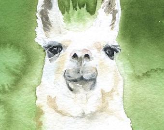 Llama Watercolor Painting Greeting Card - Blank 5 x 7