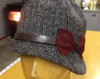 Tweed, Leather and Silk Cloche Hat