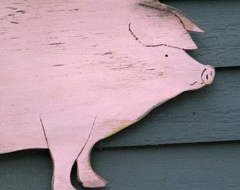 Country Pig Piggy Wooden Pig Sign Farmhouse Decor Distressed Size Wood Farmstand Sign Pork BBQ Wall Decor