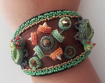 Beaded Beadwoven Bracelet/ Cuff . Inspirational Embroidery . Spike Cuff . Green Insects . Bugs - Nature Warriors by enchantedbeads on Etsy