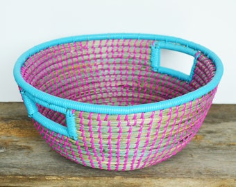 Vintage Large Coil Basket, Blue and Pink Plastic Woven in Grass, Tribal Wall Decor, Jungalow, Boho Home Decor