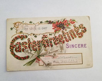 Easter Greetings Sincere Flowers Vintage Postcard