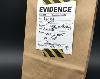ADD ON! Evidence gift wrapping, caution tape, evidence gift tag for your bestie