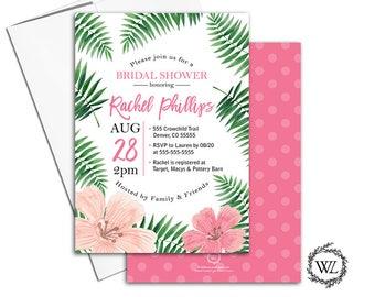 Tropical bridal shower invitation, hawaiian bridal shower invite, Tropical wedding invitation, printable or printed, pink green - WLP00653