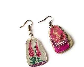 Pink and grey postage stamp earrings, steampunk earrings, dangle earrings, stamp collector, steampunk jewellery, mismatched, upcycled,OOAK