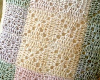 Pastel squares crochet cushion cover and inner/green cream pink lilac/nursery livingroom bedroom/