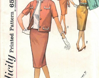 Jupe la simplicité 4810 femme crayon, bouton retour s'élança Blouse, non-coupe bouton avant boîte veste couture patron taille 18 Vintage 1960