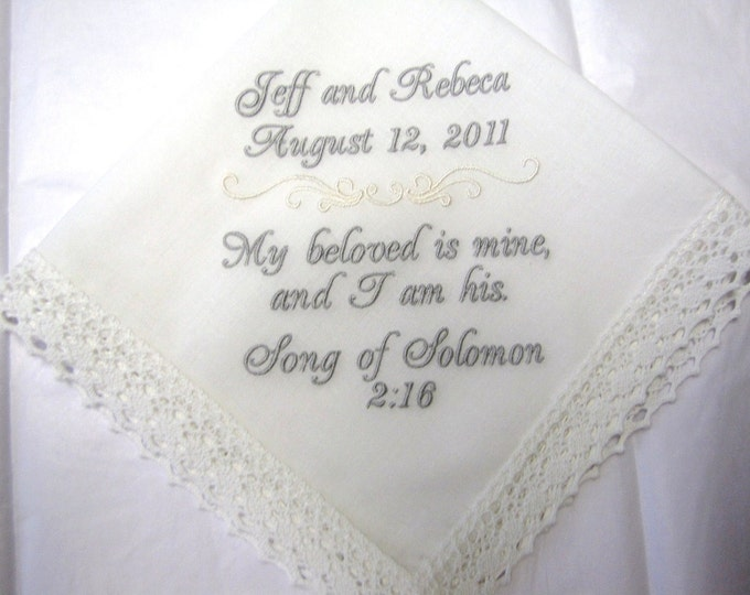 Personalized Wedding Handkerchief with Song of Solomon 2:16 Bible Verse
