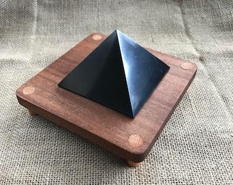 Shungite Pyramid, Large, EMF, Shungite, EMF Protector, Wood Stand, Custom