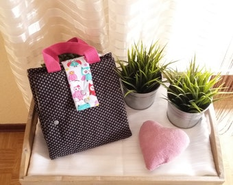 Changing blanket with pocket owl pink B-ware
