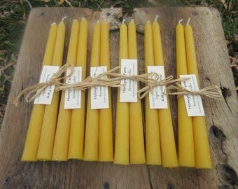 "6 Tapered beeswax candle sets - 10"" long"