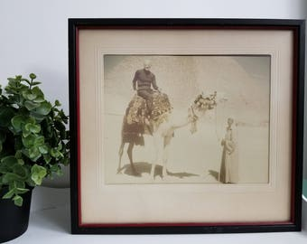 Vintage Photo Great Pyramids Giza Egypt, Camel, Male Rider, Guide. Sepia Tone Matted & Framed Original, Not a Reprint. Archaeological decor.