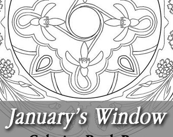 Printable Coloring Book Page for Adults - January Birth Flowers Carnations and Snowdrops Art Nouveau Mandala Stained Glass Window