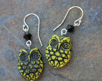 Wasabi & Black Owl Earrings - Black and avocado green glass bird beads, jet black crystals, sterling silver earwires - free shipping USA