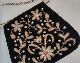 Vintage Made in India SUDHA Black Velvet Faux Pearl Evening Purse