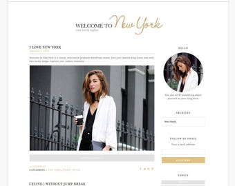 Wordpress Theme Responsive Blog Template Blog Design - Welcome to New York - Gold