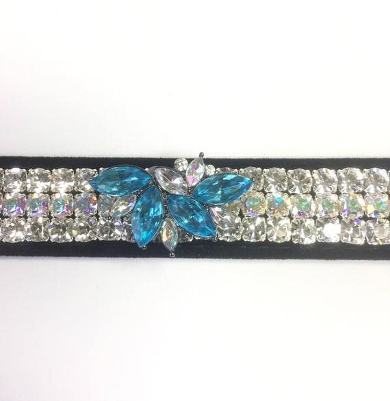 "Wide 1"" Black Velvet ~Aqua Diva ~ Diamonds & Aurora~ Crystal Rhinestone Dog Pet Collar + Free Paw Charm USA"