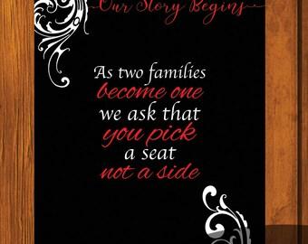 Formal Wedding Seating Sign / Formal Wedding Design / Seating Sign 8x10 / Formal / Red and Black Wedding