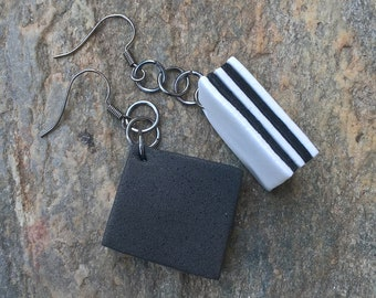 Black and white rubber earrings
