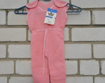 Soviet vintage pink baby overalls Baby jumpsuit from USSR Knitwear baby playsuit Baby onesie in soviet style of 1970-s