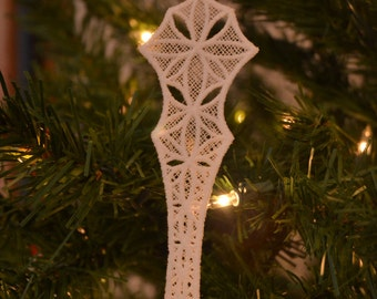 Icicle #1 embroidered lace ornament