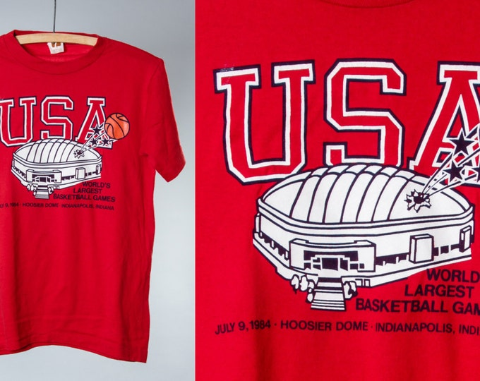 1984 Vintage Basketball T Shirt Small Red Indianapolis Tee | 5AA
