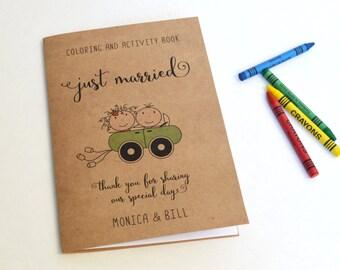 Wedding activity book for Kids / wedding coloring book / rustic wedding favor / kids wedding table / kids wedding activities - Set of 6