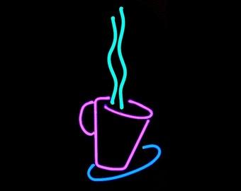 Coffee Time 'Hot Java' Real Neon Wall Hanging Art Sculpture Modern Design
