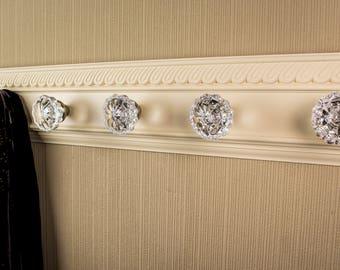 Vintage Look Wall Coat Rack W/ 5 Glass Door Knobs U0026 Decorative Beveled  Moulding.