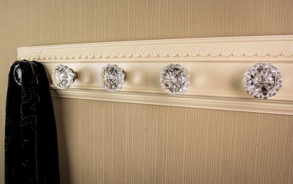 Old Door Knob Coat Rack Vintage Look Wall Coat Rack W 100 Glass Door Knobs  Decorative