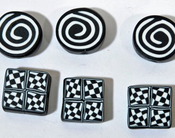 Polymer Clay Beads - Set of Six Beads