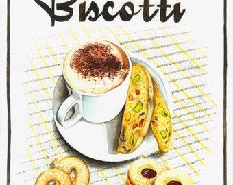 Biscotti - Print van mijn Originele illustratie - Afmeting papier 21 x 28 cm