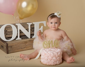 SMASH CAKE OUTFIT, Tutu and Crown Set, Ivory Gold and Pink Tutu, Baby Tutu, First Birthday Outfit, 1st Birthday Tutu, Pink and Gold Birthday