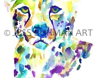 Cheetah Watercolor Print, Watercolor Cheetah Painting, Print of Cheetah, 8 x 10 Cheetah, Animal Painting, Animal Art, Big Cat Painting