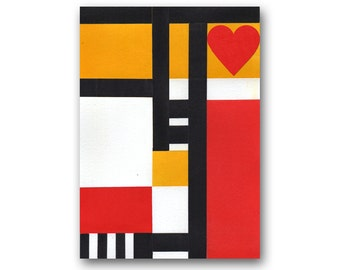 """FRIENDSHIP, Wedding, Anniversary, Valentine Card - """"Abstract Art"""" Collection - 5""""x7""""  Collaged Paper Art Card (CVALABS201315)"""