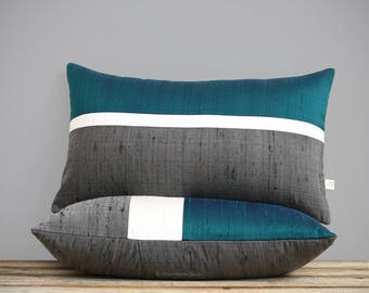 Deep Teal Silk Horizon Line Pillow Cover with Cream and Charcoal Gray Stripes by JillianReneDecor, Luxury Gift for Her, Lagoon Lumbar Pillow