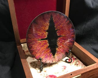 100mm hand painted OOAK dragon eye with box and stand