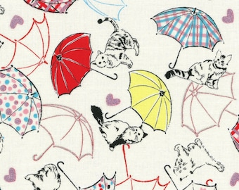 Radiant Girl from Lecien - Full or Half Yard Cats with Umbrellas - 30s Style