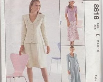 McCalls 8616 Semi-fitted Jacket and Skirt, Size E 14-16-18