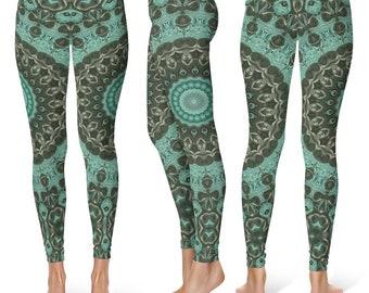 Mid Rise Leggings Yoga Green, Emerald Mandala Art Yoga Tights, Printed Yoga Pants, Green Leggings, Fashion Leggings, Womens Stretch Pants