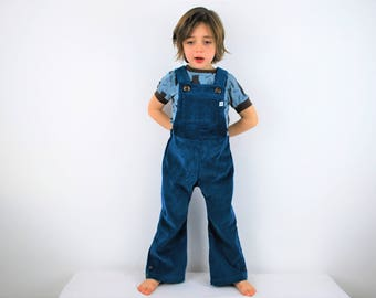 Teal dungarees petrol blue overalls girls boys unisex childrens clothing flared or straight leg bright blue kids vintage retro flares outfit
