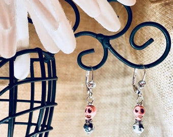Pink Stone Skull and White Howlite Earrings