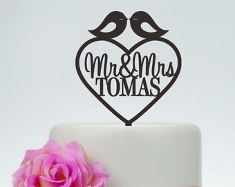 Love Birds Cake Topper,Wedding Cake Topper With Surname,Mr and Mrs Cake Topper,Custom Cake Topper,Unique Cake Topper,Heart Cake Topper C088
