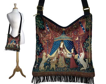 Bohemian Hippie Bag Hobo Purse Crossbody Bag Gyspy Boho Fringe Bag Medieval Renaissance Faire Bag Lady and the Unicorn Red blue gold MTO