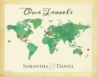World Map of Our Travels, Personalized Couple Gift, Anniversary Gift Idea, Travel Map Print, Wanderlust Print, Love Travels Print, 6a